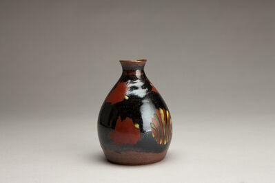 Tomoo Hamada, 'Sake bottle, black glaze with akae decoration', 2018