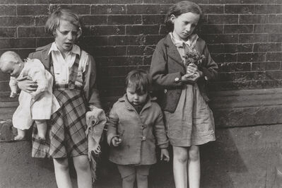 Helen Levitt, 'Three Children with Doll and Flowers', 1940s/1940s