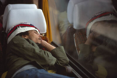 David Burnett, 'Bob Marley and The Wailers on their tour bus during their Exodus Tour in Europe', 1977