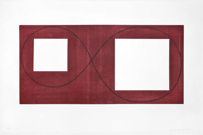 Robert Mangold (b.1937), 'Two Open Squares Within a Red Area', 2017