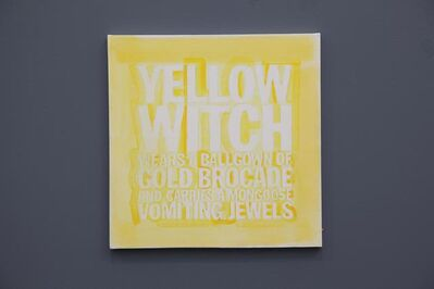 John Giorno, 'YELLOW WITCH WEARS A BALLGOWN OF GOLD BROCADE AND HOOLDS A MONGOOSE VOMITING JEWELS', 2012