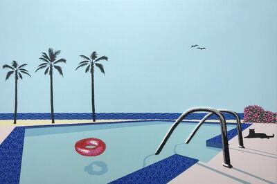 Natan Elkanovich, 'Black cat pink buoy - landscape painting', 2020