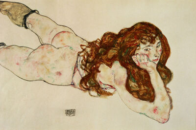 Egon Schiele, 'Female Nude on Her Stomach', 1917