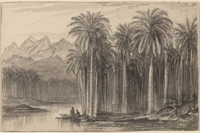 Edward Lear, 'Figures Setting Out in Canoes from a Palm Grove (Wady Feiran)', 1884/1885