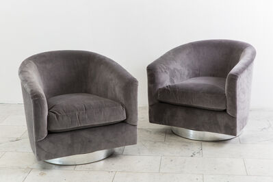 Milo Baughman, 'Pair Dark Gray Swivel Chairs', 1970s