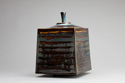 Hideaki Miyamura, 'Square jar, blue hare's fur and brown glaze', 2018
