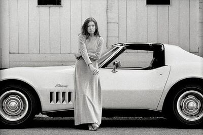 Julian Wasser, 'Joan Didion in front of her Stingray, Hollywood, CA', 1970