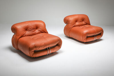 Afra & Tobia Scarpa, 'Pair of Cassina 'Soriana' Lounge Chairs by Afra and Tobia Scarpa in Cognac Aniline leather, 1970s', 1970s