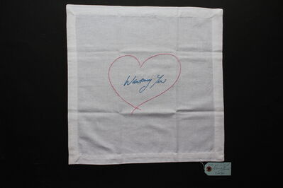 Tracey Emin, 'Wanting You (Pink/ Blue) Napkin', 2015