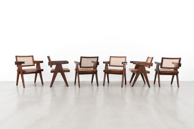 """Pierre Jeanneret, 'Set of 6 """"Office"""" chairs', ca. 1955-56"""