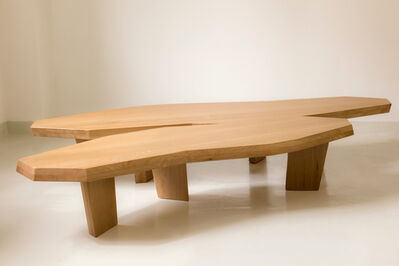 Jacques Jarrige, 'Large double COFFEE TABLE in oak sculpted by Jacques JARRIGE', 2017