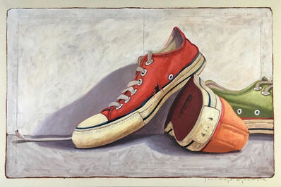 """Santiago Garcia, '""""#21"""" oil painting of red, orange and green converse low tops', 2019"""