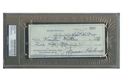 "Norman Rockwell, '""Vinton Withers"", $5 Personal Check, SIGNED/Filled Out by Rockwell, The Housatonic National Bank Mass. ', 1959"