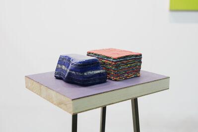 """Maria Morganti, 'Stratificazione con lapislazzulo (blu e rosso) """"... la materia qui è infatti così densa..."""", Venezia', 2013"""