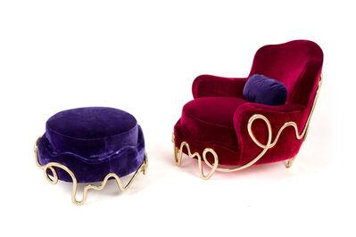Mattia Bonetti, 'Meander armchair & pouf', 2015/2018