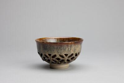 Miraku Kamei XV, 'Tea bowl (chawan), shippo design openwork and takatori glaze', 2018