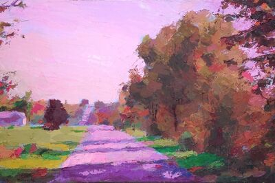 "Larry Horowitz, '""Fall Road Shadows"" oil painting of a road with pink shadows and autumn trees', 2020"