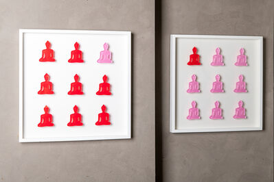 Tal Nehoray, 'Nine No. 10 & 11 - diptych pink and red buddha wall sculpture', 2019