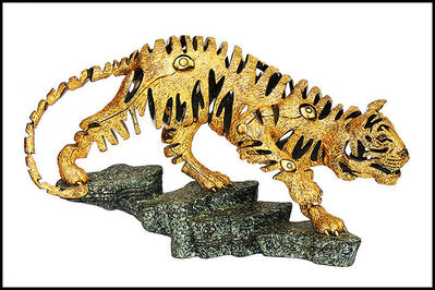Jiang Tiefeng, 'JIANG Tie Feng LARGE 1/2 LIFE Golden Tiger BRONZE SCULPTURE Signed Chinese Art', 2000