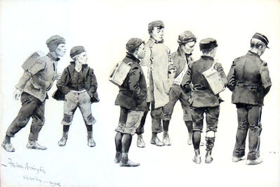 Frederic Remington, 'Newsboys Waiting For Delivery Time', 1894