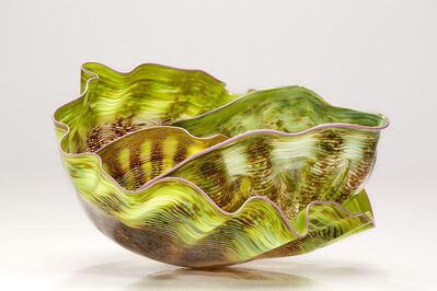 Dale Chihuly, 'Chartreuse Macchia Set with Lavender Lip Wraps', 1988
