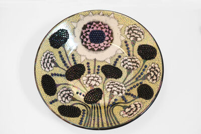 Birger Kaipiainen, 'Plate in yellow and light pink iridescent glazed ceramic', ca. 1965