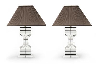 Karl Springer, 'A pair of Karl Springer spiral Lucite table lamps'