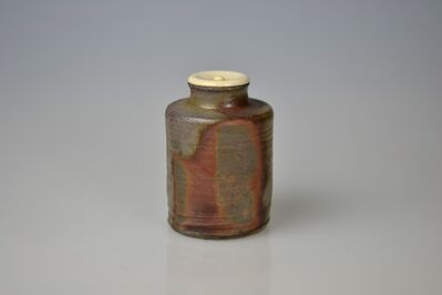 Matsui Tomoyuki, 'Cylindrical Bizen Tea Caddy with Reserve Decor', Late 20th Century