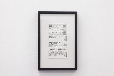 Cristina David, 'Iasi- Bucharest Train Ticket', 2016