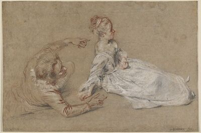 Jean-Antoine Watteau, 'A Man Reclining and a Woman Seated on the Ground', ca. 1716