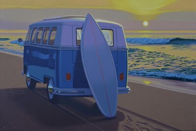 "Rob Brooks, '""Sunset Samba"" photorealist oil painting of vintage blue VW bus on a beach ', 2020"