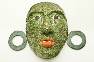 'Masque funéraire de Calakmul avec ornements d'oreilles (Funerary mask of Calakmul with ear ornaments)', 600-900 AD