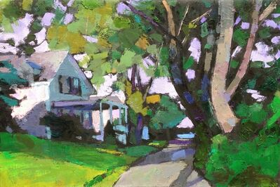 "Larry Horowitz, '""Street Scene, Edgartown"" Oil painting of Martha's Vineyard house with bright green grass and leaves', 2017"