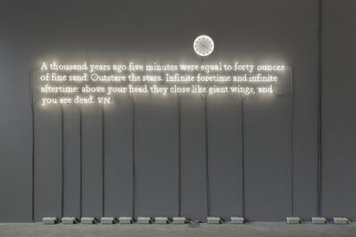 Joseph Kosuth, ''Existential time #01' / A thousand years ago five minutes were equal to forty ounces  of fine sand. Outstare the stars. Infinite foretime and infinite  aftertime: above your head they close like giant wings, and  you are dead. V.N.', 2019