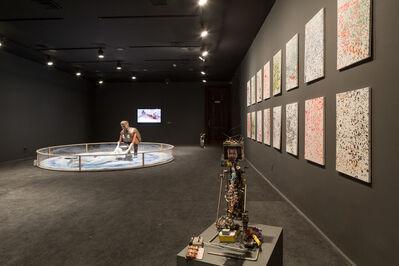 Cai Guoqiang 蔡国强, 'Ignition Robot, and Dot-Painting Damien Hirst as part of Wu Yulu's Robot Factory, Centro Cultural Banco do Brasil, Rio de Janeiro', 2013
