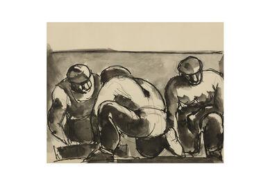Josef Herman RA, 'Three men crouching'