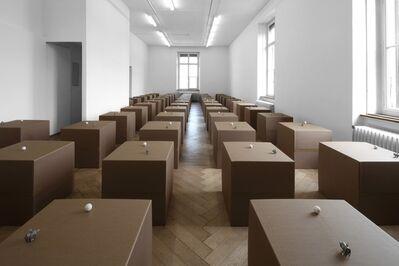 Zimoun, '62 prepared dc-motors, cotton balls, cardboard boxes 60x60x60cm', 2011