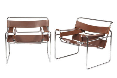 Marcel Breuer, 'Pair of Marcel Breuer Chromed Tubular Steel and Leather Wassily Chairs', Designed 1925-Circa 1960