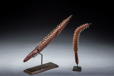 Oceanic Art, 'Two Micronesian Shark Tooth Weapons, Oceanic Art, South Pacific Art, Tribal Art', Late 19th century