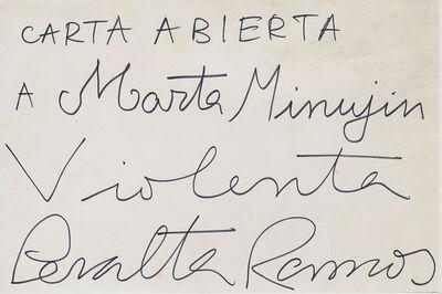 Federico Manuel Peralta Ramos, 'Carta abierta a Marta Minujin'
