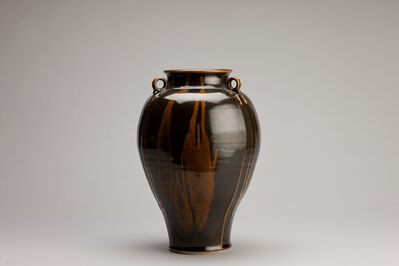 Brother Thomas Bezanson, 'Vase with lugs, dark celadon glaze with iron yellow', n/a