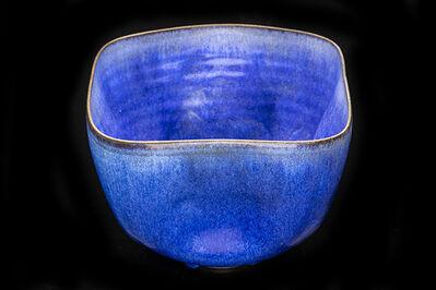 Otto Natzler, 'Ceramic Dimpled vessel in Cobalt Hares Fur Glaze', 1982