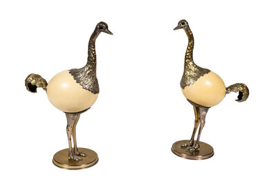 Franco Lagini, 'Pair of Ostrich Egg and Pewter Bird Sculptures by Franco Lagini', ca. 1970