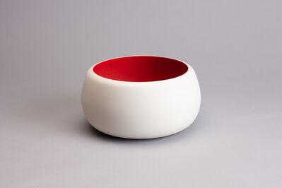 İpek Kotan, 'Sculptural vessel form #125, satin matte red glaze with white crystals', 2016
