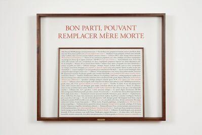 Sophie Calle, 'Bon parti, pouvant remplacer mère morte', 2017