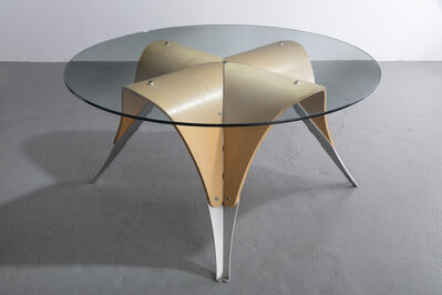 "Ali Tayar, '""Michael's Table,"" dining height version, in molded plywood, aluminum and glass. Designed by Ali Tayar, 1991.', 1991"