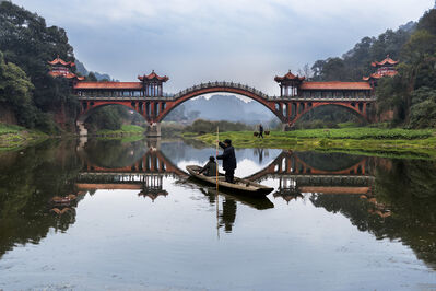 Steve McCurry, 'Man Rows on Min River, Leshan, China', 2016