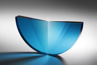 Tomáš Brzon, ''Turquoise Tapered Semicircle' Cast, Cut and Polished Glass Sculpture', 2019