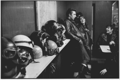 John 'Hoppy' Hopkins, 'Bikers with Helmets at the Ace Café, London', 1964