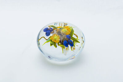 Paul Stankard, 'Paperweight Seeds Cane and Yellow Lillys with Wildflowers and Bursting seed Pots', 1997
